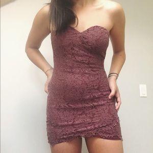 plum lace mini dress
